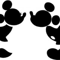 Mickey and Minnie kissing silhouette cute nursery vinyl wall quotes art sayings stickers decals