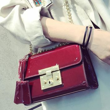 summer patent leather bag fashion handbags female designer brands padlock bag chain shoulder crossbody bags ladies phone purse