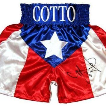 ESBONY Miguel Cotto Signed Autographed Puerto Rico Boxing Trunks (ASI COA)