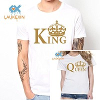 New Family King Queen Letter Print t Shirt,2016 Camisetas King Queen Couple Matching Valentine Summer Fashion Cotton tshirt tops