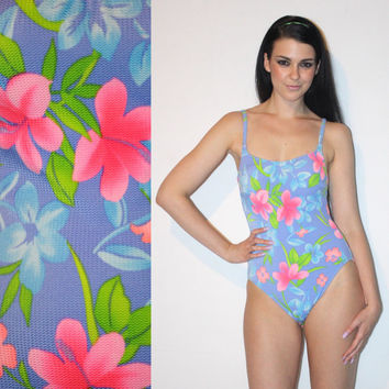 Vintage 80s One Piece Swimsuit, HAWAIIAN Floral TEXTURED Fabric HIGHCUT Leg Bathing Suit