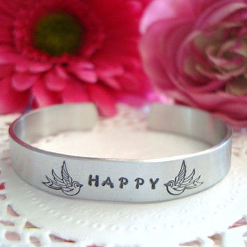 Personalized With Your Name Or Word Hand Stamped Cuff Bracelet Made To Order