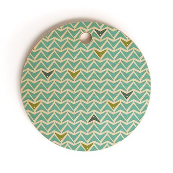Heather Dutton Take Flight Aqua Cutting Board Round