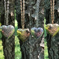 Floral the Heart Locket Necklace
