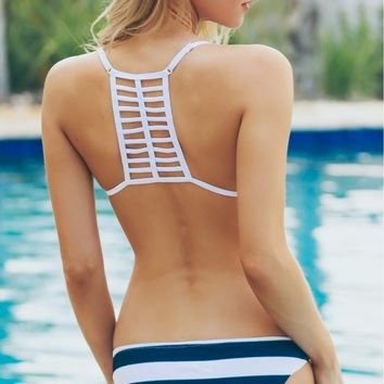 Caged Triangle Swim Top Black