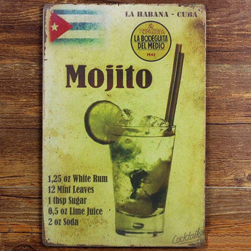 Mojito Cuba Cuban Cocktail vintage tin signs retro metal sign iron plate painting the wall decoration for bar cafe home club pub