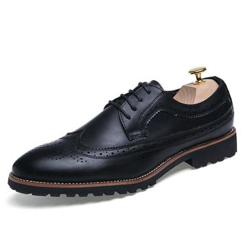 Italian elegant men shoes luxury brand formal pointed toe male footwear leather ballet flats fashion brogue oxford shoes for men
