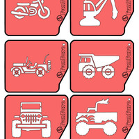 FunFare stencil set (6 stencils), Truck theme, food decorating stencils