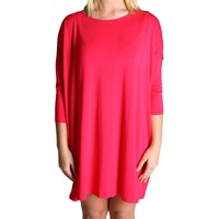 Fuchsia Piko Tunic 3/4 Sleeve Dress