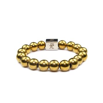 12mm Genuine Insignia Mens Stretch Bracelet - Gold Hematite