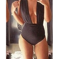 Black Sleeveless Convertible Halter Cut Out Bodysuit