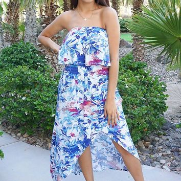 Paradise Island White Tropical Print Strapless High Low Maxi Dress