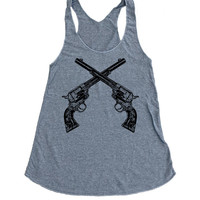 Crossed Vintage Guns Tank Top - American Apparel Tri-Blend Tank - Available in sizes S, M, L