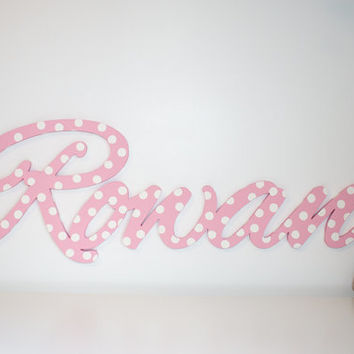 "Extra large Wooden name sign 11 - 12 "" letters Polka dots Baby Name Plaque  PAINTED nursery name nursery decor wooden wall art, above a crib"