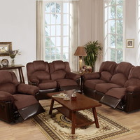 2 pc halifax iii collection two tone chocolate microfiber and vinyl upholstery sofa and love seat set with recliner ends