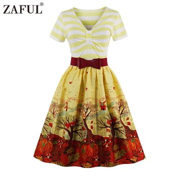 ZAFUL Brand 2017 Vintage V Neck print Women Dress Retro Robe Rockabilly Feminino Vestidos Hepburn 50s Tunic dresses Plus Size