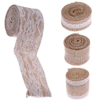 Width White Lace Natural Burlap Jute Ribbon Roll Vintage Christmas Wedding Decoration Craft Gift Wrapping