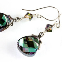 Swarovski Flat Briolette Earrings, Vitrail Light, Sterling Silver, Aqua and Lavender, Swarovski Crystal