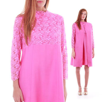 60s Vintage Bubblegum Pink Dress and Tunic Set Matching Outfit Floral Lace Retro Mod Rare Trapeze Midi Swing Clothing Womens Size XL