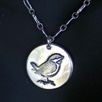 Little Sparrow in Silver Necklace  -  Made to Order
