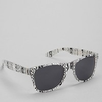 Amigo Black & White Printed Square Sunglasses - Urban Outfitters