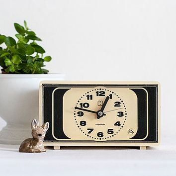 Retro Hema Dutch Clock 70's  Vintage Rectangle Electric Alarm Clock Light Brown / Cream / Off White / Black