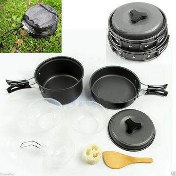 new arrivel 8pcs Outdoor Camping Hiking Cookware Backpacking Cooking Picnic Bowl Pot Pan Set