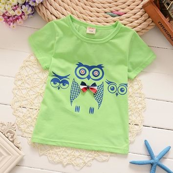 1-4T Cotton Boys T Shirts Kids Clothing Baby Tee Girls Owl Pattern Design Child's Clothes 5 Colors New Arrival