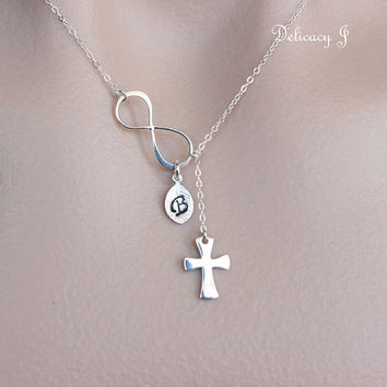 Cross infinity necklace lariat jewelry, Sterling silver cross necklace, Sideways infinity and cross, Semi adjustable, Infinity With God