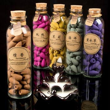 58pcs Glass Bottle Package 13 Flavor Can Choose Natural Smoke Backflow Incense Cones Hollow Cone Incense  Sandalwood Q