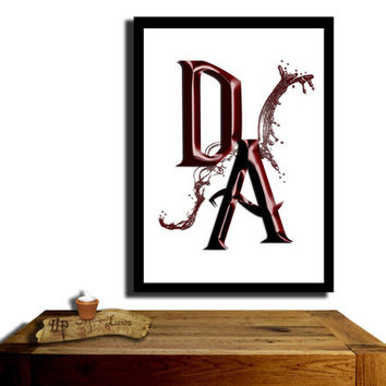 Dumbledore's Army, Harry Potter Poster, Claret coloured....Paint effect poster