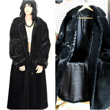 Black faux fur coat full length size M beautiful plush long faux mink winter coat SunnyBohoVintage