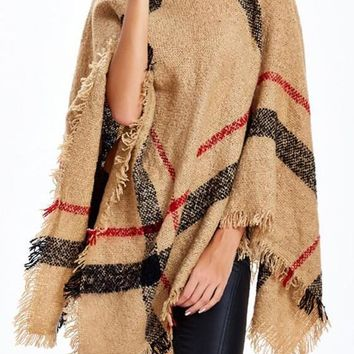 Camel Striped Print Tassel Cape High Neck Fashion Pullover Sweater