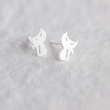 Lovely cat 925 sterling silver earrings,a personalized gift