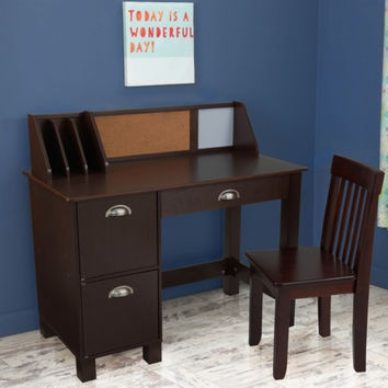 Study Desk with Side Drawers - Espresso