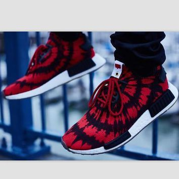 Beauty Ticks Women Adidas Nmd Boost Casual Sports Shoes Red Black Print
