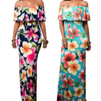 New summer sexy Women printing flowers off shoulder long dress-0524