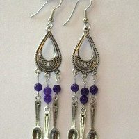 Spoon Earrings with Amethyst Accents