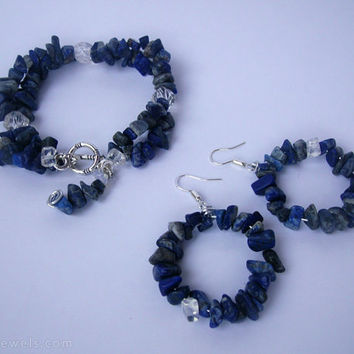 Blue chip hoop earrings and bracelet - Lapis lazuli chip bracelet and earrings gemstone jewelry