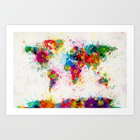 Map of the World Map Paint Splashes Art Print by ArtPause