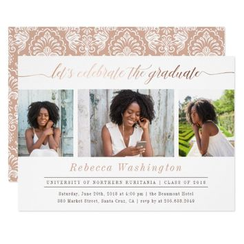 Modern Rose Gold Graduate 3 Photo Graduation Party Card