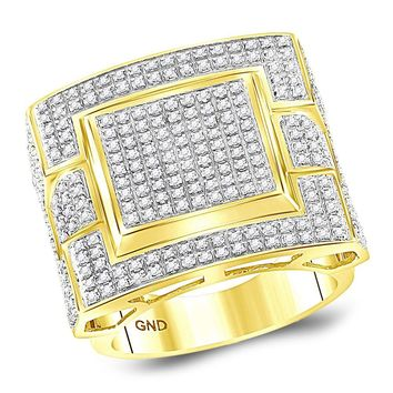10kt Yellow Gold Mens Round Diamond Square Cluster Ring 1.00 Cttw