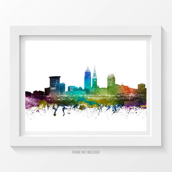 Cleveland Poster, Cleveland Skyline, Cleveland Cityscape, Cleveland Print, Cleveland Art, Cleveland Decor, Home Decor, Gift Idea 01