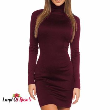 Women Slimming Solid Color Elegant Winter Long Sleeve Body-con Casual Mini Dress