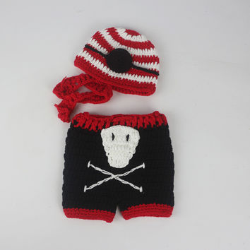 New crochet outfits red white striped beanie and skull pants handmade infant boy newborn baby pirate costume photography props