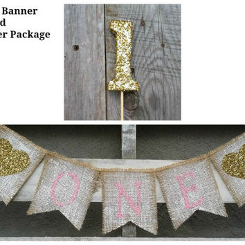 First Birthday Burlap Banner and CakeTopper Package, Birthday Banner, Cake Smash Topper,  First Birthday Cake Topper, Birthday Decor