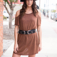 Rust Cold Shoulder Shift Dress