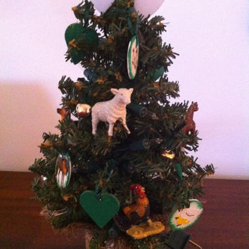 Christmas tree farm theme with John Deere Tractor and farm animals - 12 inch with lights