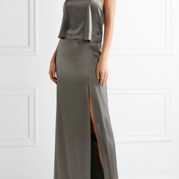 Halston Heritage - Double-faced satin halterneck gown