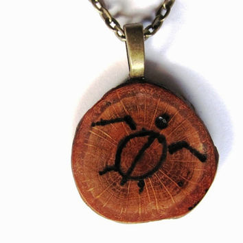 Handmade Wooden Pendant, Necklace, Wood Burned, Sea Turtle, Reclaimed Wood, Eco-Friendly Jewelry by Hendywood - (W)